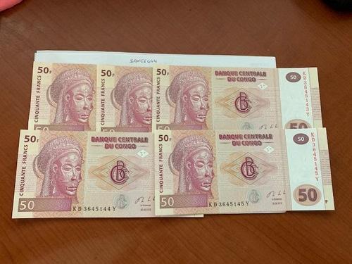 Congo 50 francs unc. banknote 2013 lot of 5