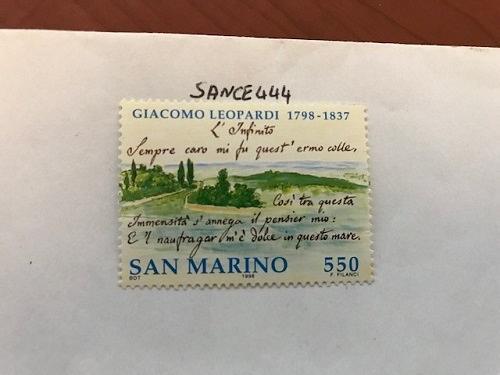 San Marino Giacomo Leopardi 550 lira mnh 1998 stamps