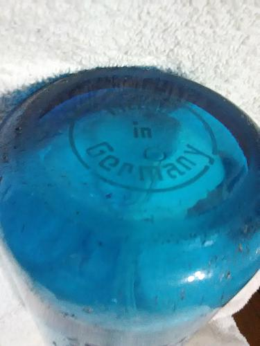VINTAGE BLUE SELTZER BOTTLE STATUE OF LIBERTY DESIGN MADE IN GERMANY RARE