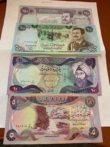 Iraq lot of 4 banknotes 1982/6