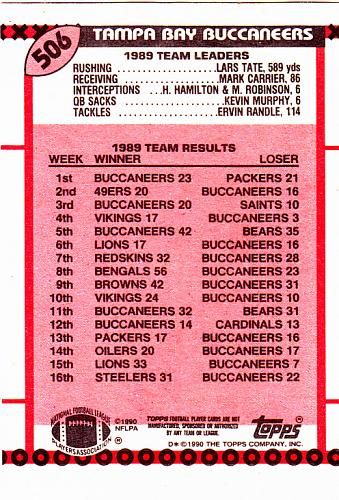 Moss Assists #506 - Buccaneers 1990 Topps Football Trading Card