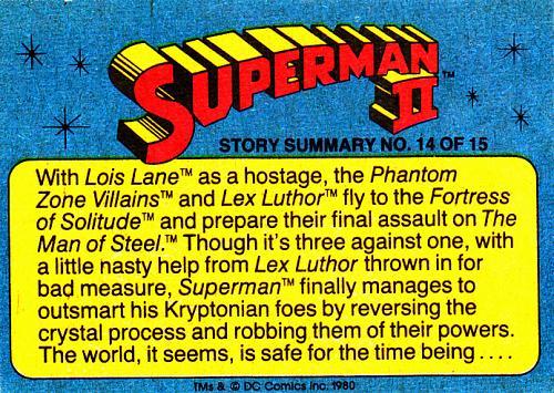 Hulking Villain from Krypton #19 - Superman II Comic 1980 Trading Card