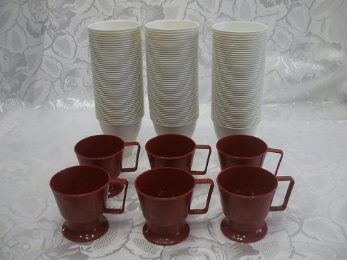 6 Plastic Coffee Cups With 145 Plastic Inserts