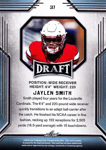 Jaylen Smith #37 - Seahawks 2019 Leaf Rookie Football Trading Card