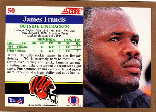 James Francis #50 - Bengals 1991 Score Football Trading Card