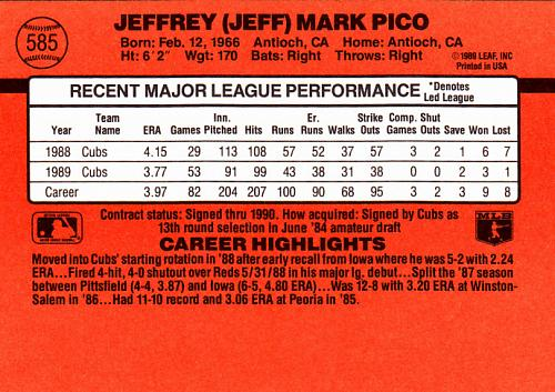 Jeff Pico #585 - Cubs 1990 Donruss Baseball Trading Card