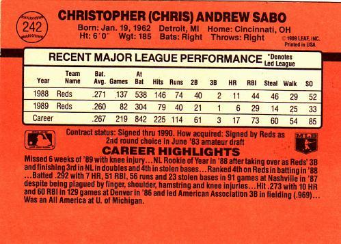 Chris Sabo #242 - Reds 1990 Donruss Baseball Trading Card