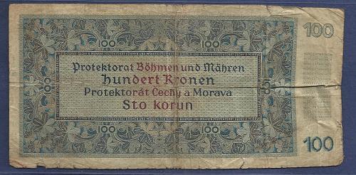 BOHEMIA & MOROVIA 100 Kronen 1940 Banknote 281504 CZECHOSLOVAKIA WW2 German Occupatio