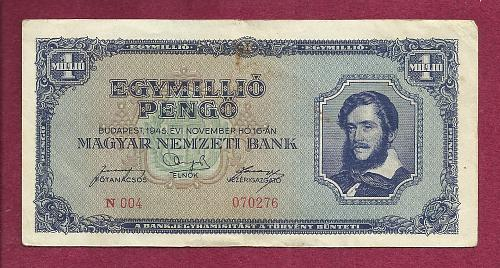Hungary 1 Million Pengo 1945 Banknote 070276 P-122 -Kossuth at right/River Scene