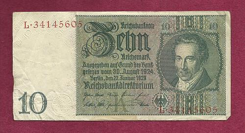 Germany 10 Mark 1924 Banknote P-180 Serial #L-34145605- Albrecht Thaer Watermark