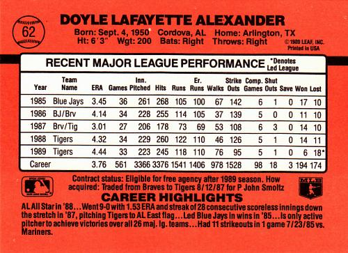 Doyle Alexander #62 - Tigers 1990 Donruss Baseball Trading Card