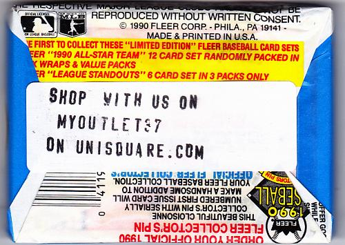 Fleer 1990 Baseball Cards Factory Sealed Pack