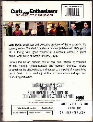 Curb Your Enthusiasm - Season 1 DVD 2003, 2-Disc Set - Very Good