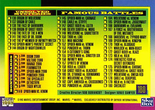 Checklist #180 - 1993 Marvel Comic Trading Card