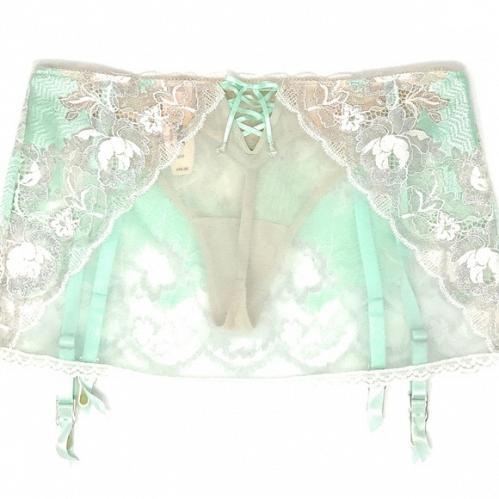 Victoria's Secret SEDUCTION Very Sexy Bling Lace Thong Garter Belt Skirt!