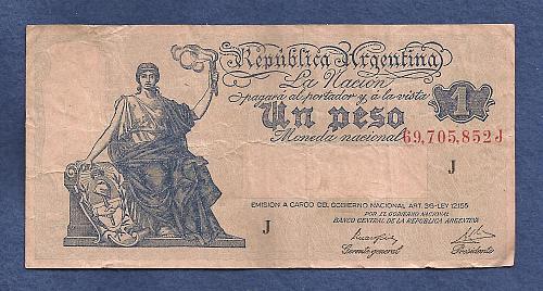 ARGENTINA 1 Peso ND (1942-48) Banknote Serial No 69,705,852 J - Watermark