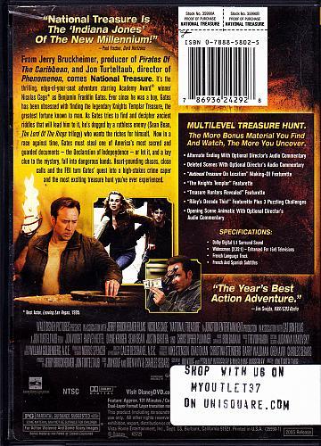 National Treasure DVD 2005 Widescreen - Good
