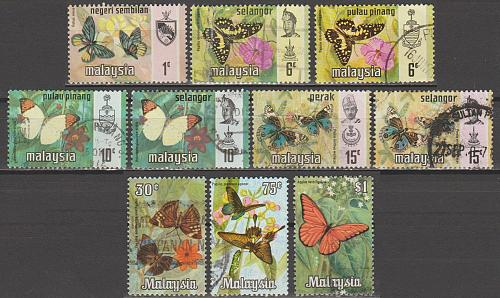 [MAM001] Malasya: 10 different butterfly stamps, used