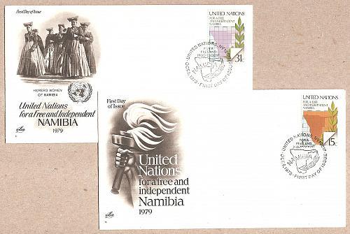 [UNF312] UN NY: Sc. no. 312-313 FDCs (1979)