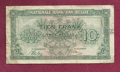 BELGIUM 10 Francs 1943 Banknote #Z2 508550 -Historic WWII Occupation Currency P-122