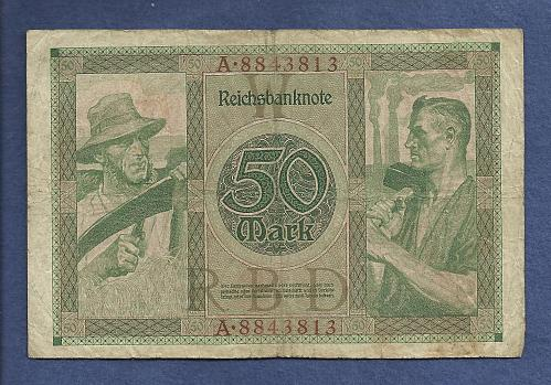 GERMANY 50 MARK 1919 Banknote 476113, Reiche 1 - Woman at Right