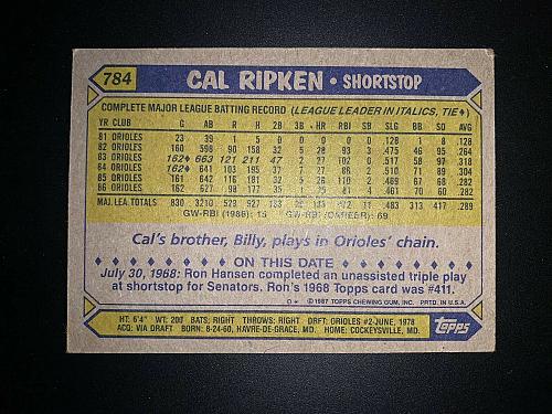 1987 Topps Cal Ripken Baltimore Orioles #784 Baseball Card