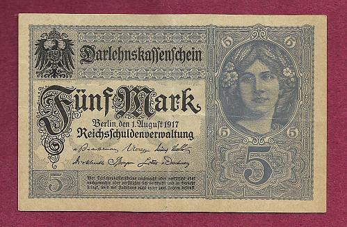 GERMANY 5 Mark 1917 Banknote K17951207 -State Loan Currency Note- DARLENSKAFFEHSCHEIN
