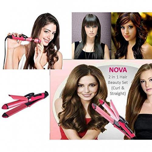 Nova 2 in 1 Hair Beauty Set Hair Curlers and Hair Straightener