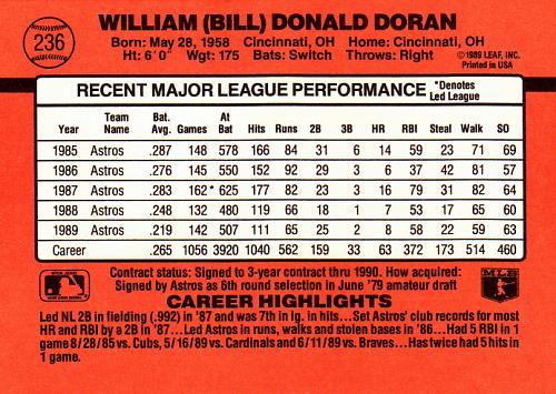 Bill Doran #236 - Astros 1990 Donruss Baseball Trading Card