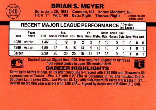 Brian Meyer #648 - Astros 1990 Donruss Baseball Trading Card