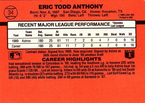 Eric Anthony #34 - Astros 1990 Donruss Rookie Baseball Trading Card