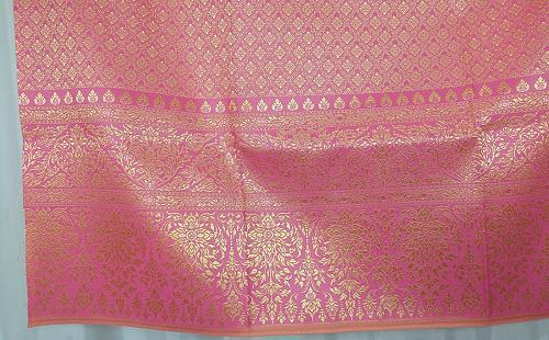 Thai Tradition Pink Gold Synthetic Silk Fabric For Top Skirt Wedding dress