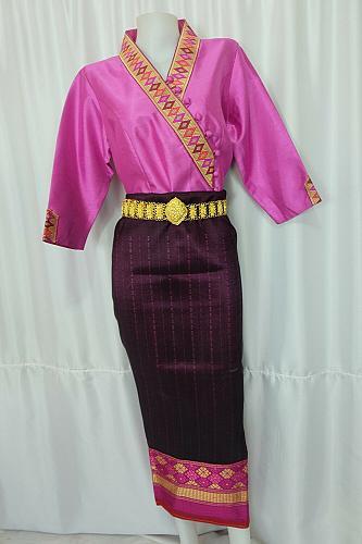Pink Lao Laos 3/4 Sleeve Blouse Suea pat size 14 Silk Blend Sinh Skirt Pha Bieng