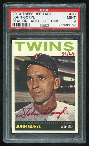 2013 TOPPS HERITAGE REAL ONE RED AUTO JOHN GORYL PSA 9 MINT (25636867)