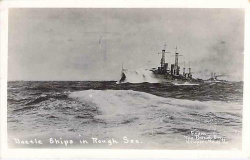 Battle Ships in Rough Seas US Navy Real Photo Postcard RPPC