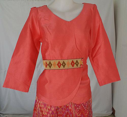 Salmon Lao Laos Synthetic Silk 3/4 Sleeve Blouse Long Sinh Skirt Outfit Size L