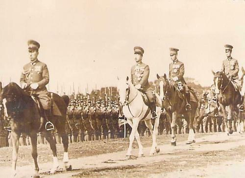 WW II Emperor Hirohito Review of Army Troops Real Photo Japanese Postcards