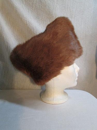 "Mens Russian Cossack Style Rabbit Fur Envelope Hat 20"" Size XS Brown H84A"