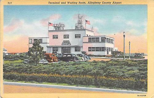 Pittsburgh Municipal International Airport Linen Postcard