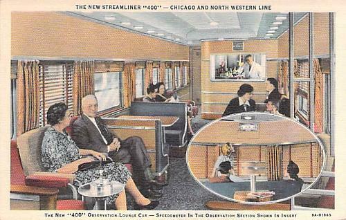 New Streamliner 400,Chicago & North Western Line,Observation Lounge Car Postcard