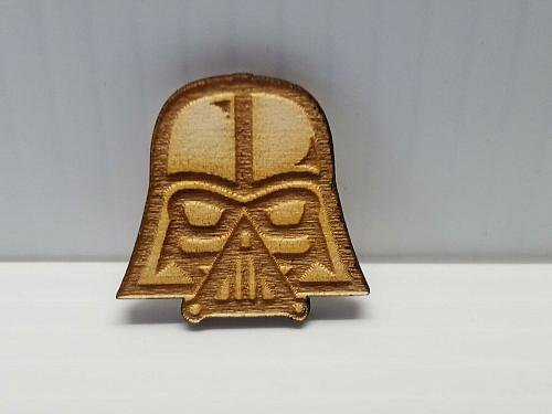 Laser Engraved Darth Vader Wood Hat Pin