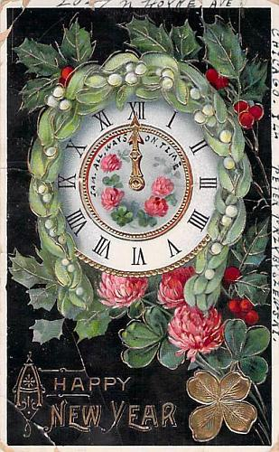 A Happy New Year Clock at Midnight, Photo Glossy Embossed Vintage Postcard