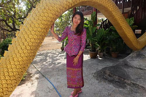 Pink Purple Lao Laos 3/4 SLeeve Blouse Us Size 0 Sinh Skirt XS Clothing Costume