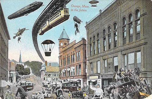 Orange Mass. In the Future with Train, Dirgibles, Balloons Cars Vintage Postcard