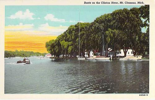 Boats on the Clinton River, Mt. Clemens, Mich Postcard