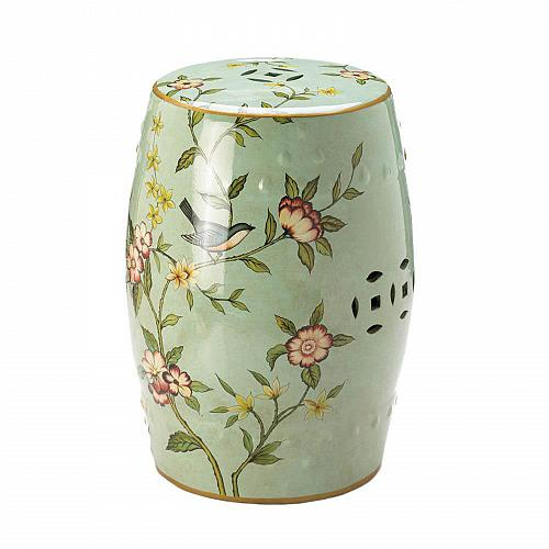 *17921U - Green Floral Garden Decorative Stool Accent Table