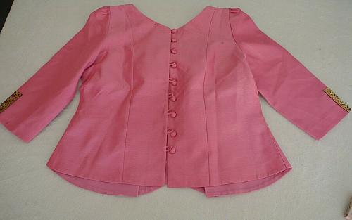 Pink Lao Laos Synthetic Silk 3/4 Sleeve Blouse Blue Sinh Skirt Outfit Size L