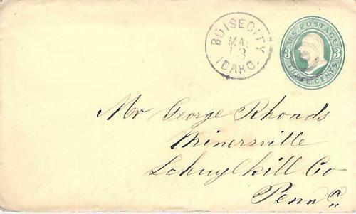 Boise City Idaho to Minersville PA DPO Cover Circa 1880