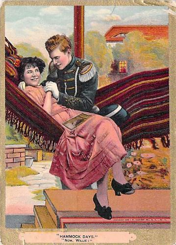 "Hammock Days, ""Now, Willie!"" Romance Vintage Postcard"