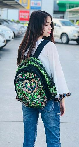 Thai HMONG Hill Tribe Ethnic Tribal Parrot Embroidered Backpack Bag Handbag